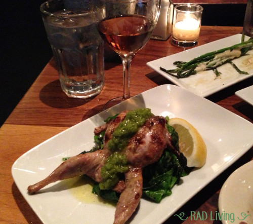 Grilled Quail with Kale and Local Garlic Scapes