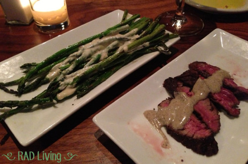 Asparagus a la Plancha with a Garlic Vinaigrette Grilled Hanger Steak with a Black Truffle Vinaigrette