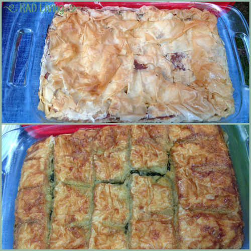 Cheese Pie (top) Spinach Pie (bottom)